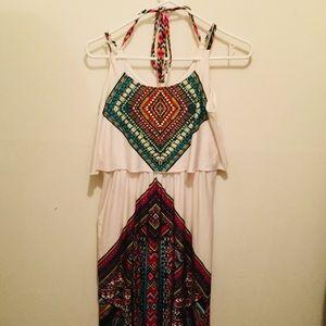 Multi colored tribal print maxi dress(LG)
